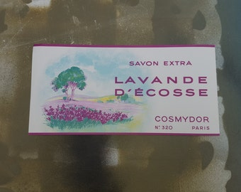 Vintage Label, Soap Label, Savon, Extra Lavande, DeCosse Cosmydor, Paris No 320, French Label, 30s Label, French Soap Label, Ephemera