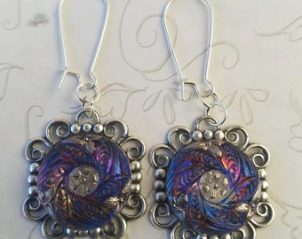 Purple Czech Glass Earrings