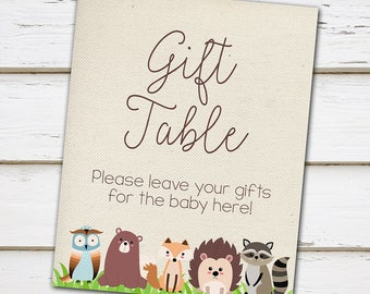 Printable Gift Table Sign, Woodland Baby Shower, Forest animals, Leave Gifts Here, Baby Shower Gifts, Baby Shower Sign, Table Sign, MB200