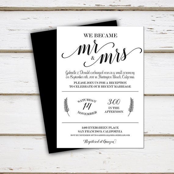 Printable Elopement Reception Invitation Mr Mrs We Did We Tied