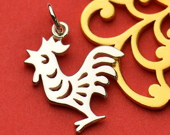 Sterling Silver Rooster Charm.