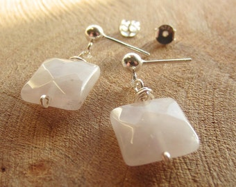 Rose Quartz Earrings, Sterling Silver Earrings, Faceted Cushion, Rough Stone Earrings, Gift for her, Rough Crystal, Raw Stone, Love