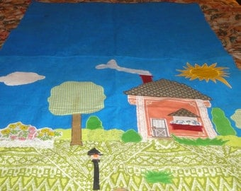 Handmade Quilt On Blue Corduroy/Clouds/Trees/House/Sun