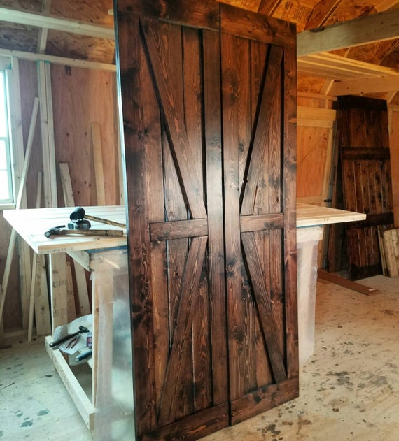 Interior Double British Brace Barn Door Package - Double Doors - Sliding Wooden Door - Farmhouse Style Barn Door - Barn Door Package
