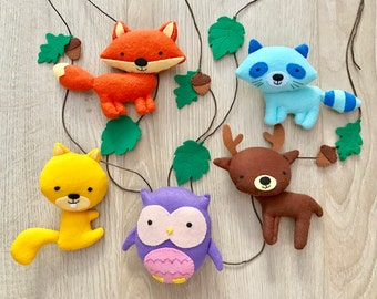 Mobile with forest animals