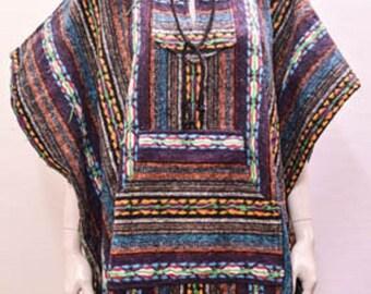 Boho Hippie Reversible hooded pocket nomad aztec striped poncho freesize blue