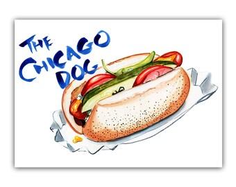 Chicago Hot Dog Print, Food Art, Kitchen Art, 5x7 art print, Chicago Food