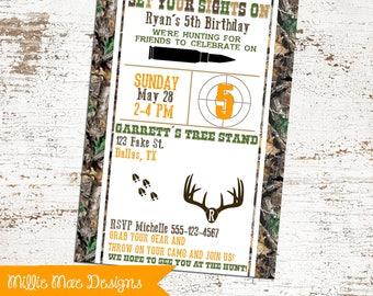 Deer Hunting Birthday Invitation - Hunting Birthday - Camo Invitation