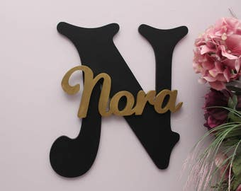 Personalized Large Wooden Letters, Wall Letter, Baby Girl Nursery Decor, Kids Name Sign, Baby Shower, Capital Letter With Script Font
