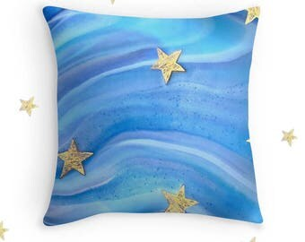 Ocean Blues Cushion Cover, Throw Cushion, Golden Starfish, Stars, Bedroom Decor, Home Decor
