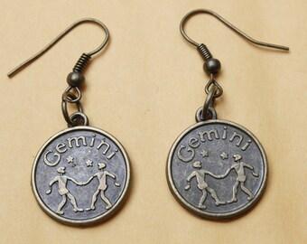 Bronze Zodiac Birthday Gemini Horoscope Earrings - Intelligent earrings
