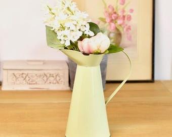 Pale green vintage chippy enamel jug/pitcher
