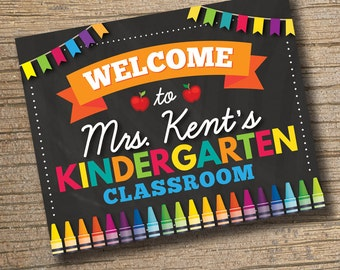 Classroom Welcome Sign - Classroom Sign - Classroom Decor - Classroom Printables - Personalized Teacher Sign - Teacher Door Sign Chalkboard