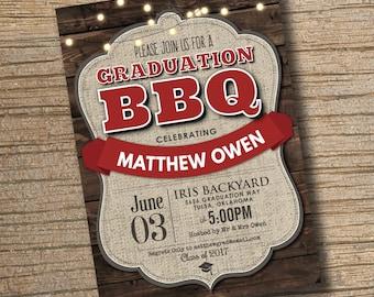 Graduation BBQ Party Invitation, Printable Graduation Invitation, BBQ Graduation Party Invitation, Class of 2017, Graduation Party BBQ