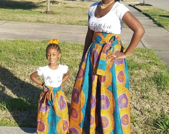 Sale Sale Sale  100% ankara fabric, African Maxi Skirts mommy and me from kids to women. Fabric options are in the photos.