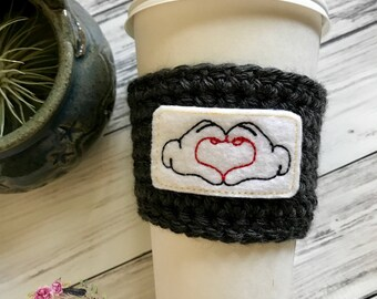 "The ""Glove Heart"" Cozie / Cozies / Coffee Cozie / Tea Cozie / Tumbler Cozie / Crochet Cozie"