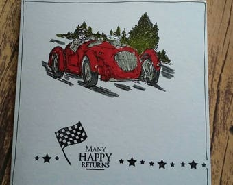 Birthday card, car card, men's card, car, handmade card, handmade, greetings cards, special occasion, many happy returns, racing car