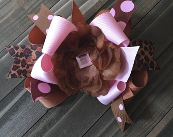 Brown and Light Pink boutique hair bow with bling