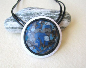 Blue stone jewelry Blue jewellery gift Blue and white pendant Statement jewelry Blue Art jewelry Blue design jewelry Blue Boho necklace