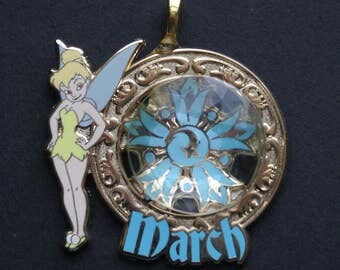 Disney Tinker Bell Trinkets March Birthstone Pendant Necklace Pixie Fairy