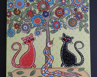 Original painting cats black cat red cat spotted painting hand made painting dotted technique