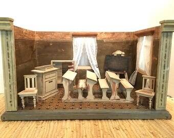 Mid 19th Cen Schoolhouse Diorama