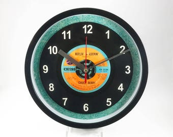 "Chuck Berry ""Reelin' & Rockin'"" Record Clock 7"" 45rpm Recycled Vinyl Record Wall Clock One Of A Kind"