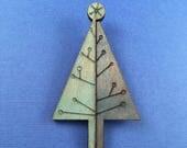 SALE! Wooden Blue Mid Century Tree Litewood Brooch