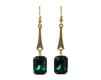 Art Deco earrings emerald green rhinestone Bridal Evening wear A010K