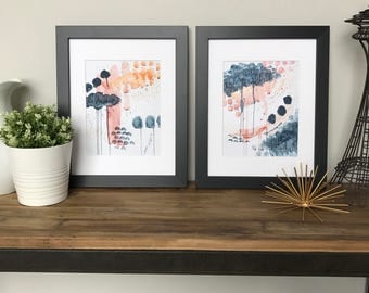 "Watercolor Print- Set of 2- ""Midnight Magnolia"""