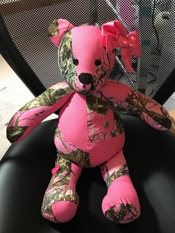 Patchwork Bear Camo And Pink Bear Stuffed Animals Ooak