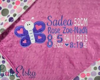 Butterfly Blanket, Personalized Butterfly Blanket, Personalized Birth Stat Blanket, Personalized Baby Blanket, Butterfly Appliqué