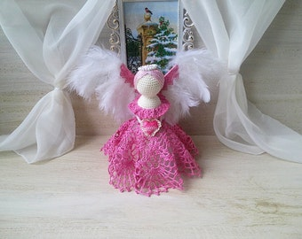 Crochet angel. Angel keeper newborn. Angel crochet baby. Angel for lovers, keeper of the house. Angel figurine statue. Christmas angel