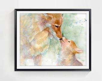 Animal art painting, nursery art, kids room wall art, animal print, wall art for kids, childrens art