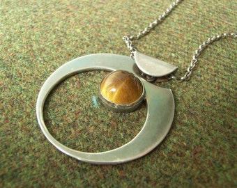"Silver & Tiger's Eye ""Crescent"" Pendant. Textured. Hallmarked Sterling Silver. Rich Patina with Matching Chain."