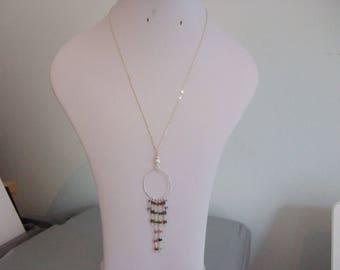 "Multi-gem, Tourmaline, Smokey Quartz and Tanzanite, Handmade Rosary Chain & Sterling Silver Pendant on an 18.5"" Sterling Silver Fine Chain"