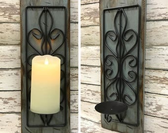 Candle Holder Wood Metal Wall SCONCE *Battery Operated Flameless Candle is optional *Rustic Distressed Decor Antique White Cream Blue Gray