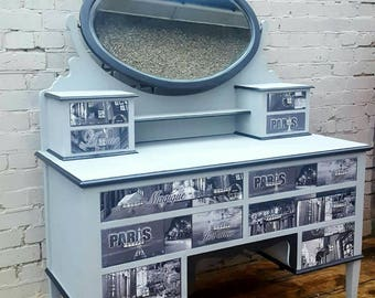 Upcycled Paris Chic Vanity Makeup Dressing Table With Oval Mirror and Ten Drawers Shabby Chic