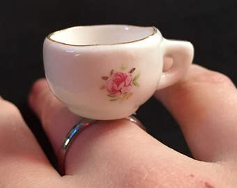 Teacup Ring Floral Dollhouse Miniature Alice in Wonderland