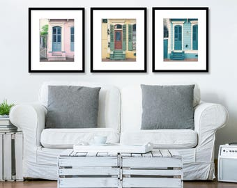 SALE, Set of 3 Prints, Door Photography, Print Set, Wall Art Prints, New Orleans, French Quarter, Pastels, Pink, Blue, Yellow, Green