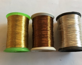 3 Spools  Embroidery Metallic Antique Thread,Gold Tambour Embroidery Thread,Gold Metallic Thread Embroidery Material,Indian Metallic Threads