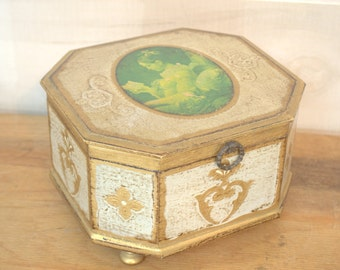 Victorian Musical Wooden Jewelry Box, Gilded French Inspired Trinket Box, Tabletop Desk Organizer