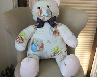 Decorative designer bear for nursery in Peter Rabbit fabric