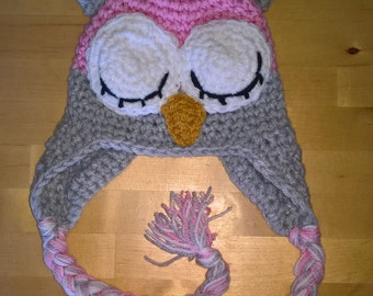 Crochet Sleeping Owl Hat, Owl Hat, Owl, Crochet Owl, Made to order