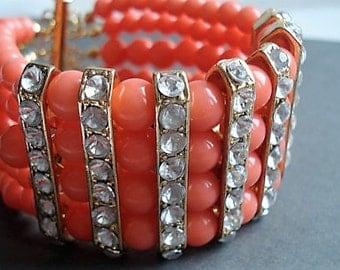 Multi Strand Coral Bracelet Statement Jewelry Boho Bracelet Coral Jewelry Gold Bracelet Gypsy Jewelry Chunky Bracelet Everyday Jewelry Gift