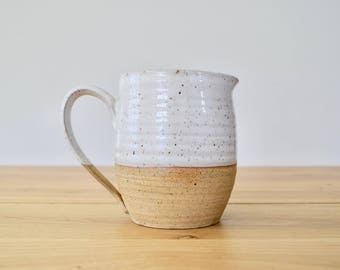 FARMHOUSE Collection: Petite pitcher. Wheel thrown, handmade pottery. Brown speckled natural clay and white glaze. Simple, rustic, modern