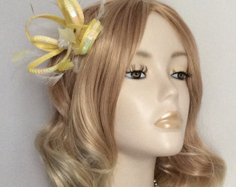 YELLOW and WHITE  FASCINATOR, Made with sinamay, Sequins, feathers,White flower bead and crystal, on a clip