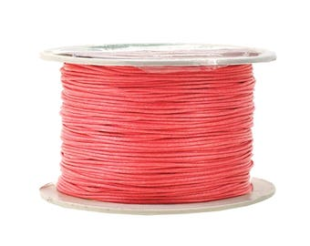 Coral Pink Waxed Cotton Cord, Thread; 12 Ply, 1mm, 100M; Beading, Macramé, Jewelry, Leather, Book Binding; Waxed Cotton Thread, Cord