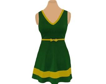 Green + Gold Skater Dress