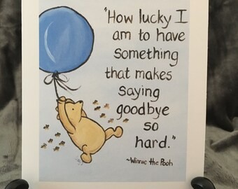 good luck card best wishes card congratulations Classic Winnie the Pooh saying goodbye love card moving away pooh quote